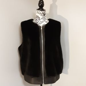 Like New Michael Kors Faux Rabbit Fur Black Vest